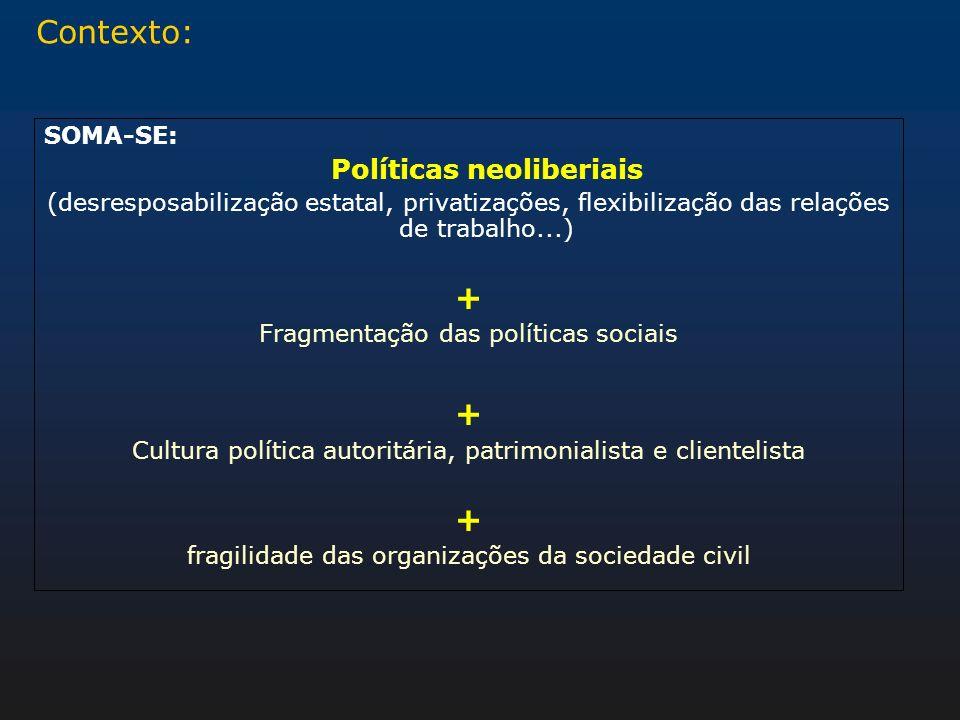 Contexto: SOMA-SE: Políticas neoliberiais (desresposabilização estatal, privatizações, flexibilização das relações de trabalho...) + Fragmentação das