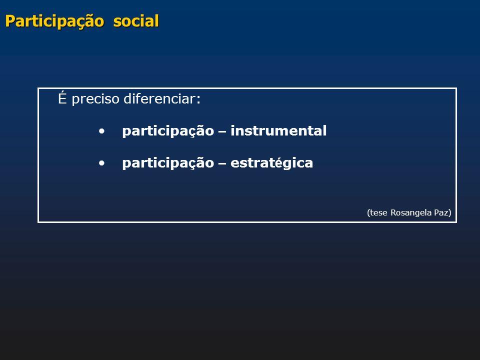 É preciso diferenciar: participa ç ão – instrumental participa ç ão – estrat é gica (tese Rosangela Paz) Participação social