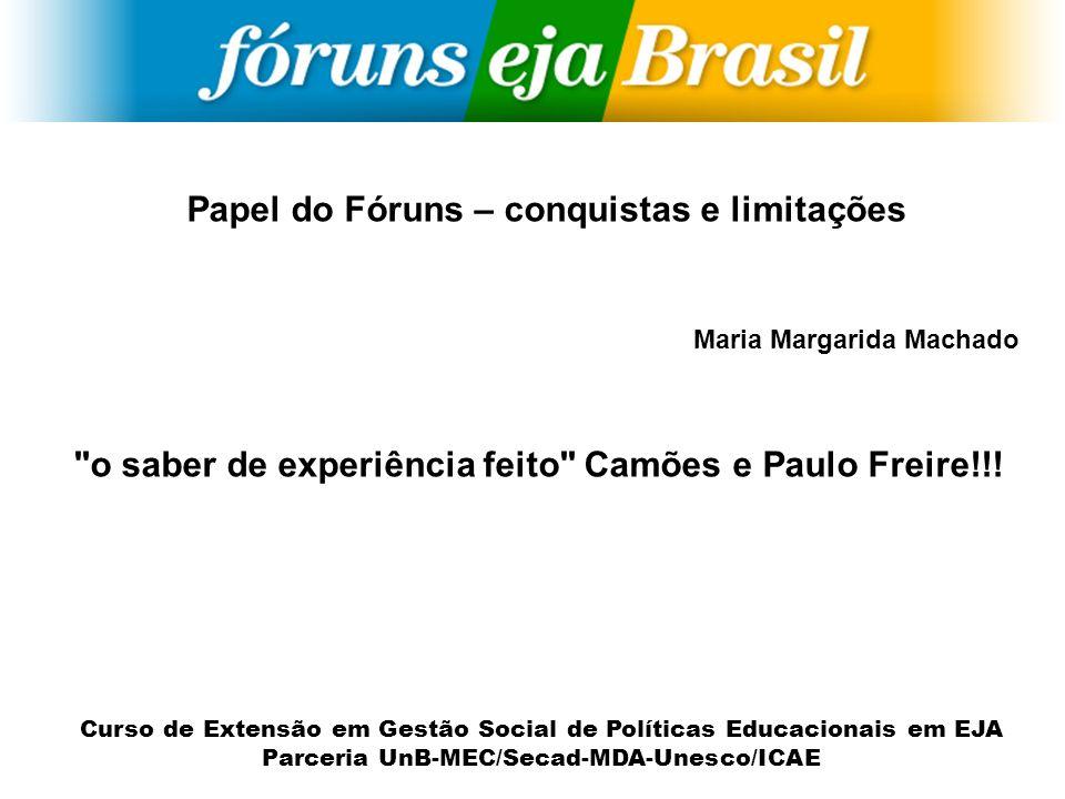 Curso de Extensão em Gestão Social de Políticas Educacionais em EJA Parceria UnB-MEC/Secad-MDA-Unesco/ICAE Papel do Fóruns – conquistas e limitações M