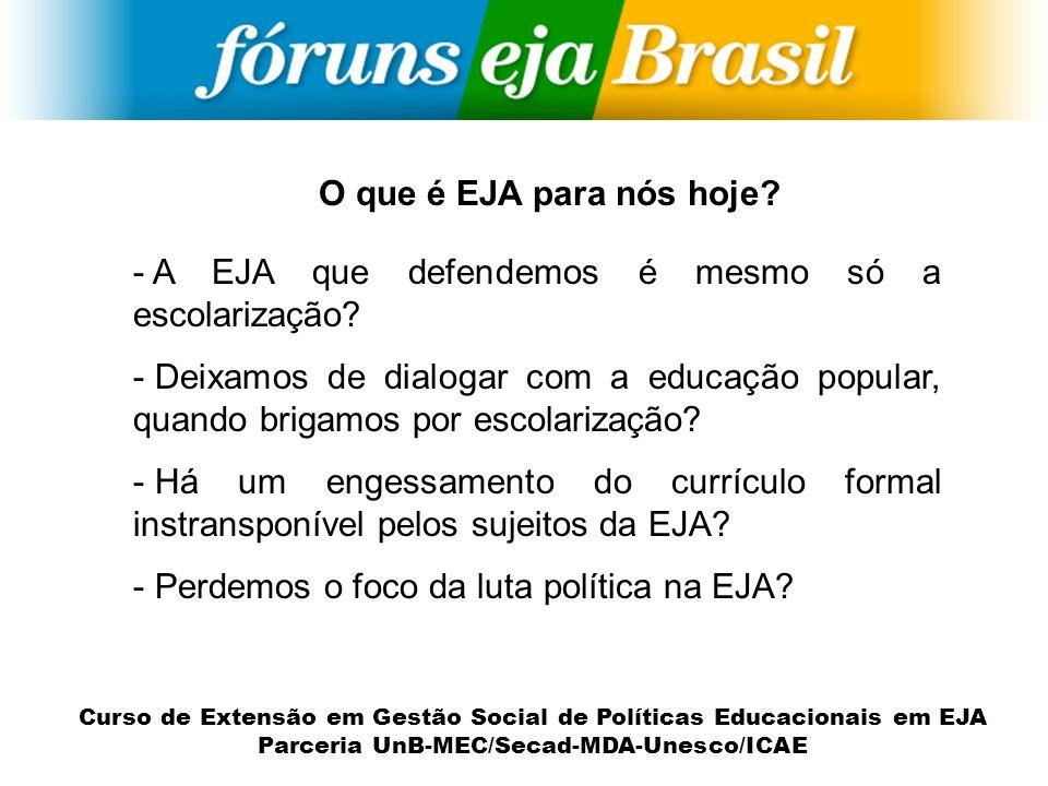 Curso de Extensão em Gestão Social de Políticas Educacionais em EJA Parceria UnB-MEC/Secad-MDA-Unesco/ICAE - A EJA que defendemos é mesmo só a escolar