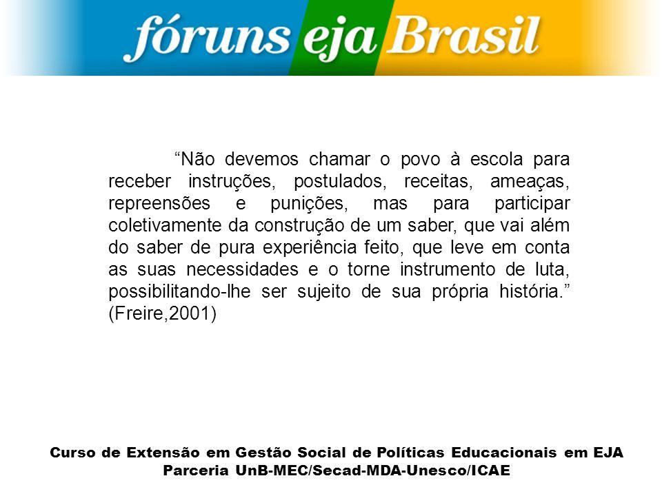 Curso de Extensão em Gestão Social de Políticas Educacionais em EJA Parceria UnB-MEC/Secad-MDA-Unesco/ICAE Não devemos chamar o povo à escola para rec