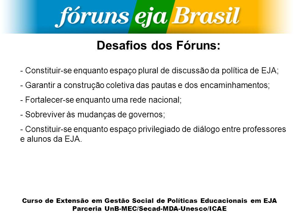 Desafios dos Fóruns: - Constituir-se enquanto espaço plural de discussão da política de EJA; - Garantir a construção coletiva das pautas e dos encamin