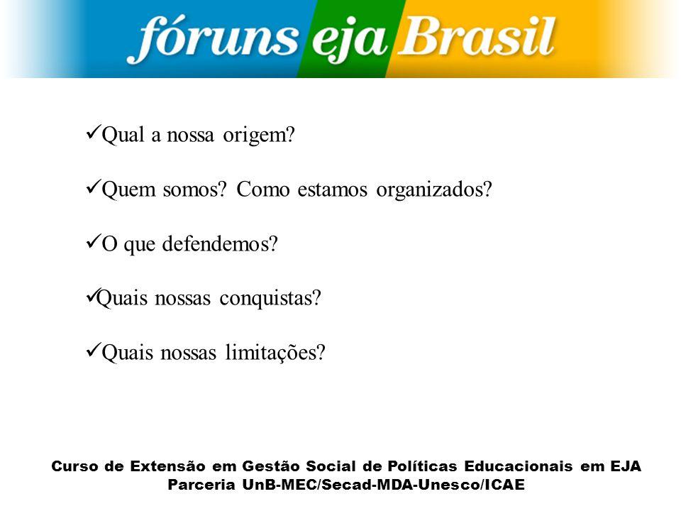 Curso de Extensão em Gestão Social de Políticas Educacionais em EJA Parceria UnB-MEC/Secad-MDA-Unesco/ICAE Qual a nossa origem? Quem somos? Como estam
