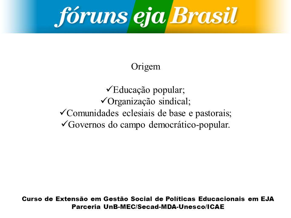 Curso de Extensão em Gestão Social de Políticas Educacionais em EJA Parceria UnB-MEC/Secad-MDA-Unesco/ICAE Origem Educação popular; Organização sindic