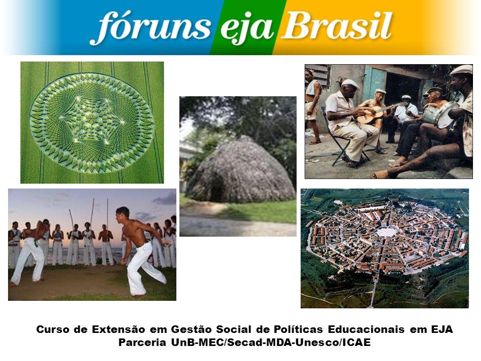 Curso de Extensão em Gestão Social de Políticas Educacionais em EJA Parceria UnB-MEC/Secad-MDA-Unesco/ICAE Segmentos Temas Construção Coletiva Universidade Sindicato Governo ONGs Estudantes Mov.
