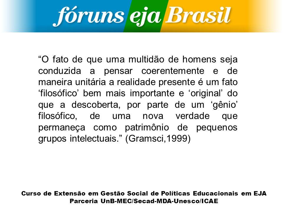 Curso de Extensão em Gestão Social de Políticas Educacionais em EJA Parceria UnB-MEC/Secad-MDA-Unesco/ICAE Constituição dos Fóruns de EJA em todo o país (V Confintea a...); Encontro Nacional de Educação de Jovens e Adultos – I ENEJA/Rio/1999 ; A EJA em rede : II ENEJA/PB/2000; III ENEJA/SP/2001; IV ENEJA/MG/2002; V ENEJA/MT/2003; VI ENEJA/RS/2004; VII ENEJA/DF/2005; VIII ENEJA/PE/2006; IX ENEJA/PR/2007; X ENEJA/RJ/2008; XI ENEJA/PA/2009; EREJAs/2010.