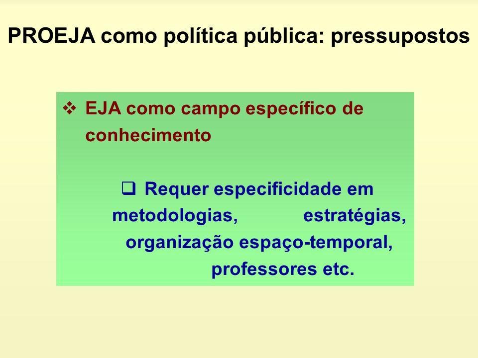 EJA como campo específico de conhecimento Requer especificidade em metodologias, estratégias, organização espaço-temporal, professores etc. PROEJA com