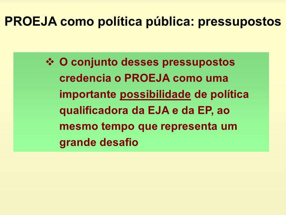 O conjunto desses pressupostos credencia o PROEJA como uma importante possibilidade de política qualificadora da EJA e da EP, ao mesmo tempo que repre