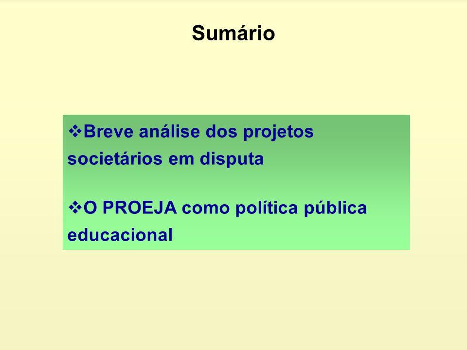 Sumário Breve análise dos projetos societários em disputa O PROEJA como política pública educacional