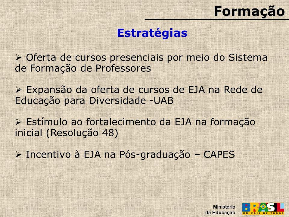Formação Estratégias Ministério da Educação Oferta de cursos presenciais por meio do Sistema de Formação de Professores Expansão da oferta de cursos d