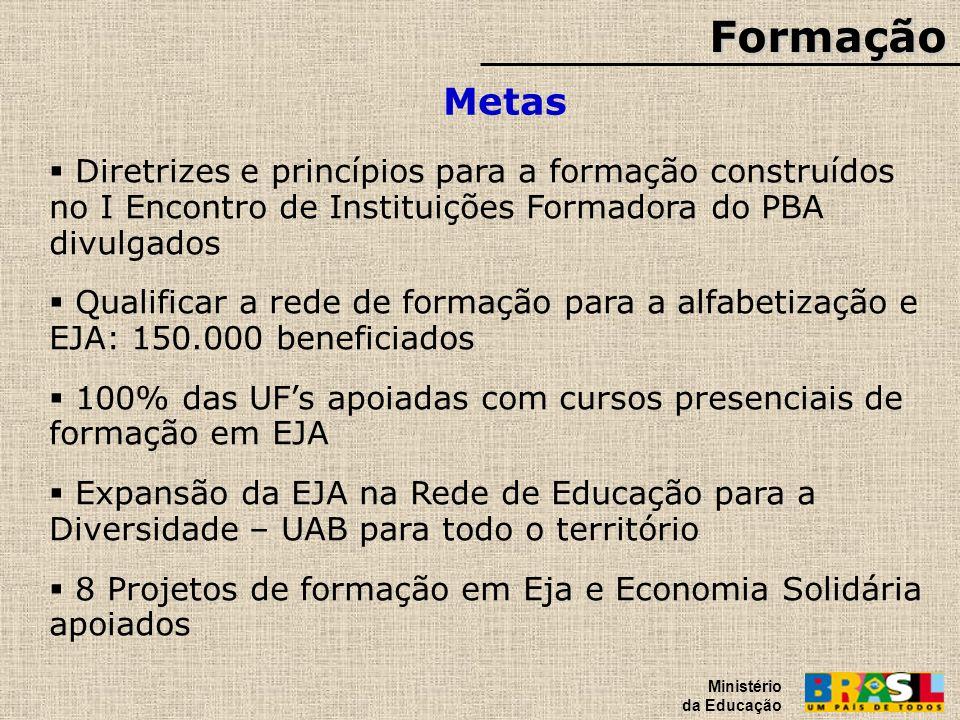 Formação Metas Ministério da Educação Diretrizes e princípios para a formação construídos no I Encontro de Instituições Formadora do PBA divulgados Qu