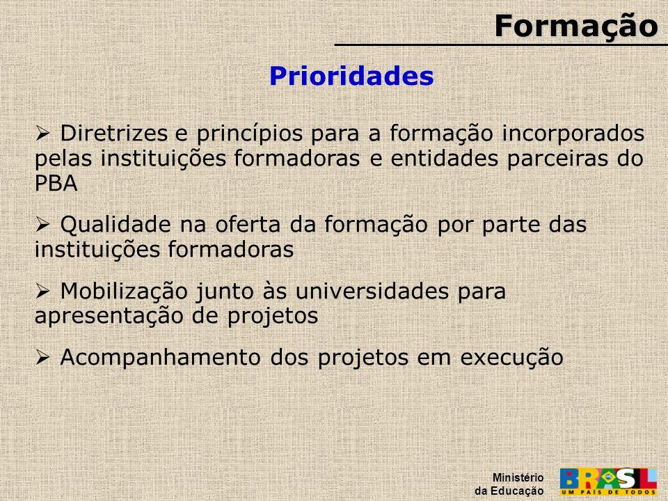 Formação Prioridades Ministério da Educação Diretrizes e princípios para a formação incorporados pelas instituições formadoras e entidades parceiras d