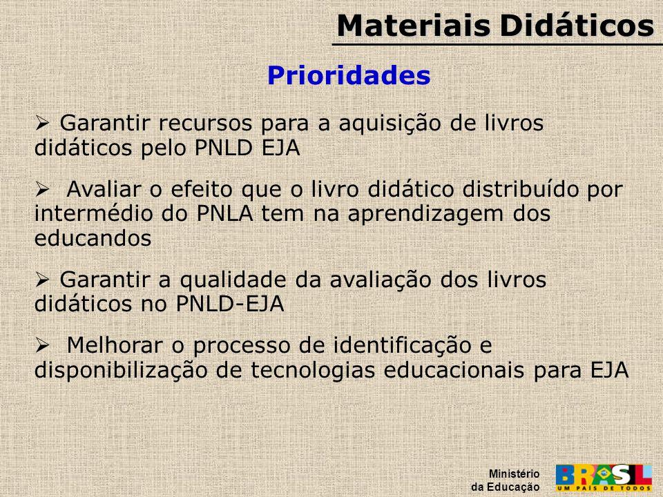 Materiais Didáticos Prioridades Ministério da Educação Garantir recursos para a aquisição de livros didáticos pelo PNLD EJA Avaliar o efeito que o liv