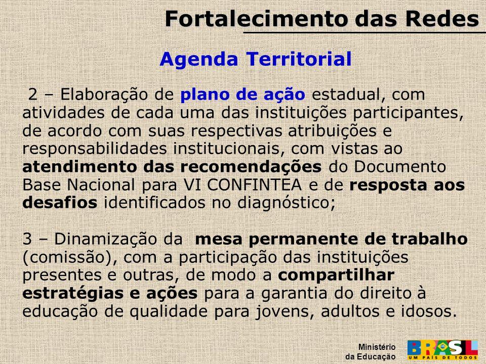 Fortalecimento das Redes Agenda Territorial Ministério da Educação 2 – Elaboração de plano de ação estadual, com atividades de cada uma das instituiçõ