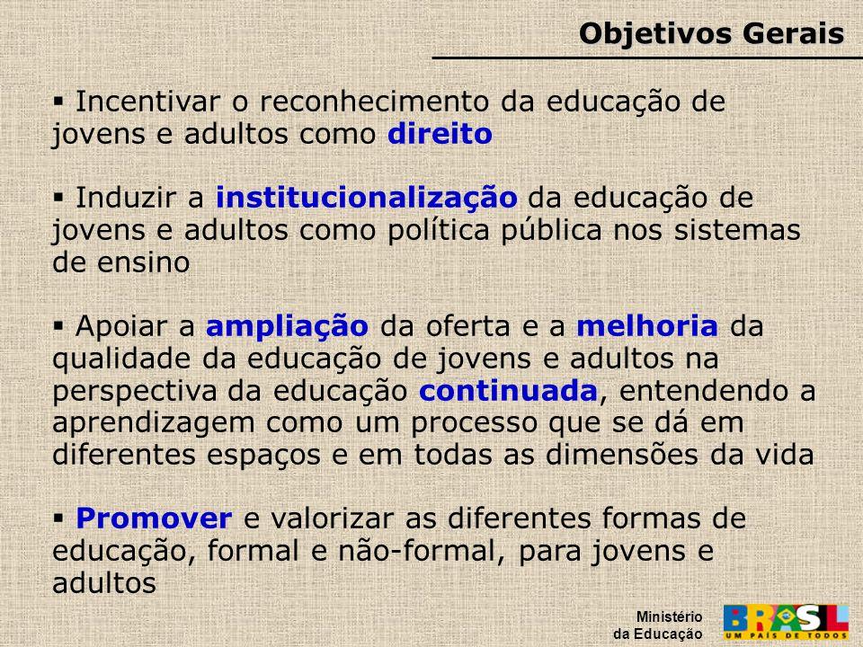 Objetivos Gerais Ministério da Educação Incentivar o reconhecimento da educação de jovens e adultos como direito Induzir a institucionalização da educ