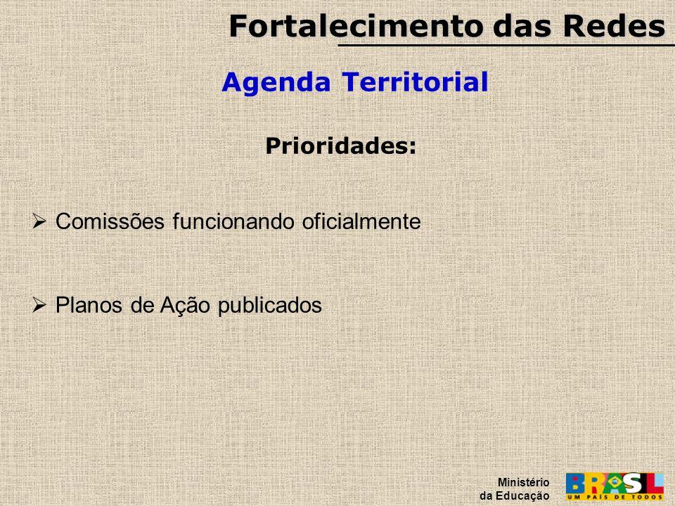 Fortalecimento das Redes Agenda Territorial Ministério da Educação Prioridades: Comissões funcionando oficialmente Planos de Ação publicados