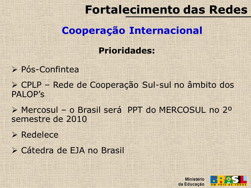Fortalecimento das Redes Cooperação Internacional Ministério da Educação Prioridades: Pós-Confintea CPLP – Rede de Cooperação Sul-sul no âmbito dos PA