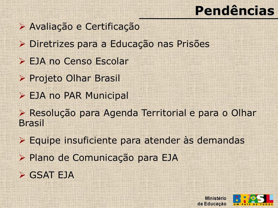 Pendências Ministério da Educação Avaliação e Certificação Diretrizes para a Educação nas Prisões EJA no Censo Escolar Projeto Olhar Brasil EJA no PAR