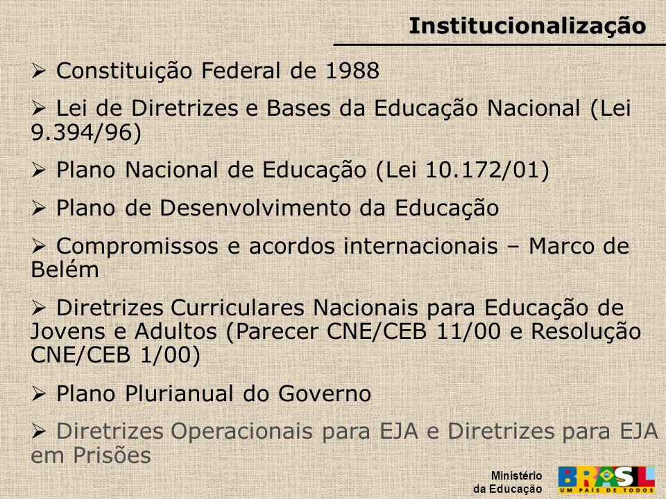 Institucionalização Ministério da Educação Constituição Federal de 1988 Lei de Diretrizes e Bases da Educação Nacional (Lei 9.394/96) Plano Nacional d