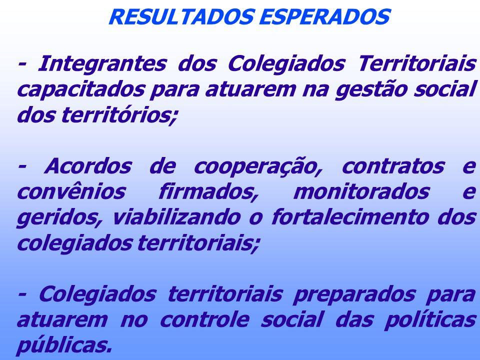 RESULTADOS ESPERADOS - Integrantes dos Colegiados Territoriais capacitados para atuarem na gestão social dos territórios; - Acordos de cooperação, con