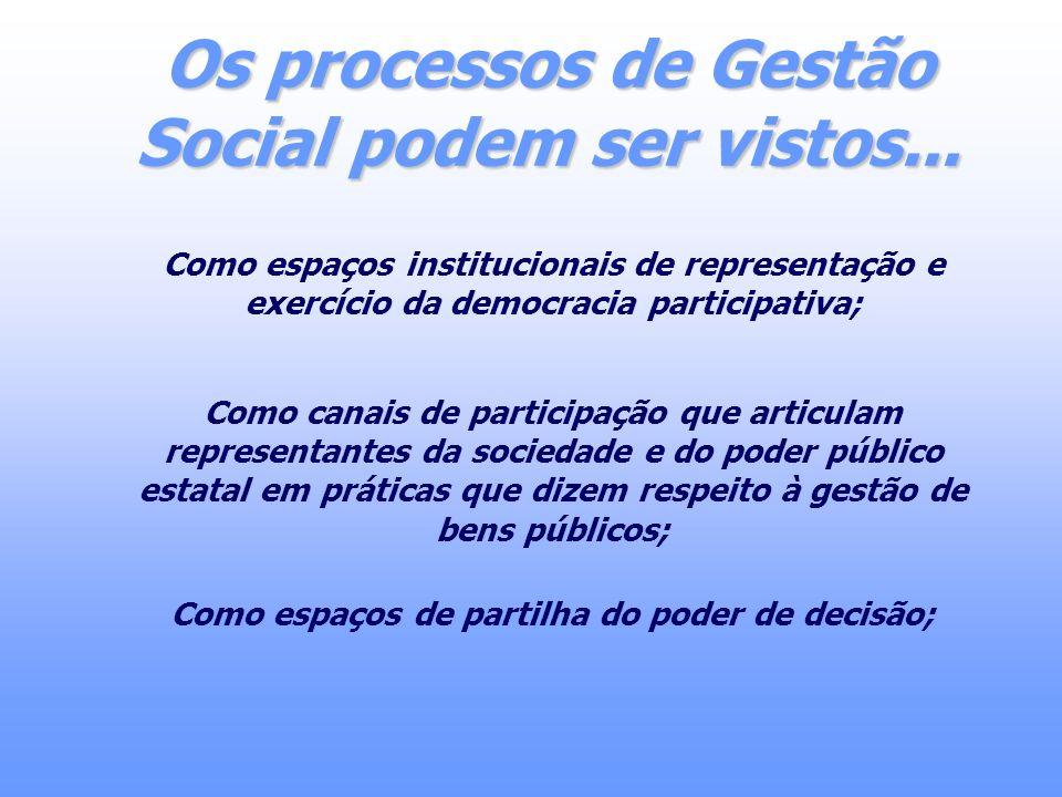 Os processos de Gestão Social podem ser vistos... Como espaços institucionais de representação e exercício da democracia participativa; Como canais de