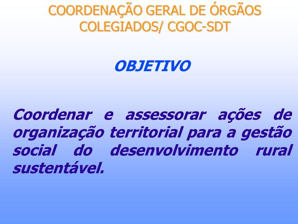 OBJETIVO Coordenar e assessorar ações de organização territorial para a gestão social do desenvolvimento rural sustentável. COORDENAÇÃO GERAL DE ÓRGÃO