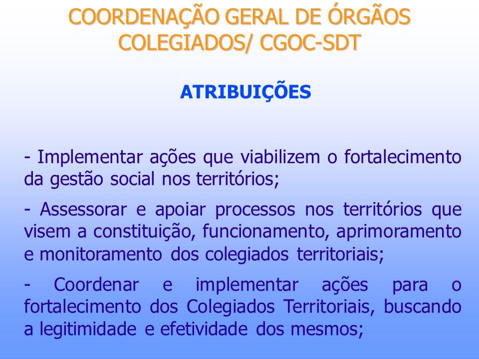 ATRIBUIÇÕES - Acompanhar, assessorar, estabelecer, implementar e dinamizar iniciativas de articulação, de parcerias estratégicas, e de cooperação, junto às entidades e organismos nacionais e internacionais que contribuam para a efetivação dos objetivos da SDT com relação aos colegiados territoriais; - Apoiar a consolidação da Rede Nacional de Colegiados territoriais para o desenvolvimento rural sustentável; COORDENAÇÃO GERAL DE ÓRGÃOS COLEGIADOS/ CGOC-SDT