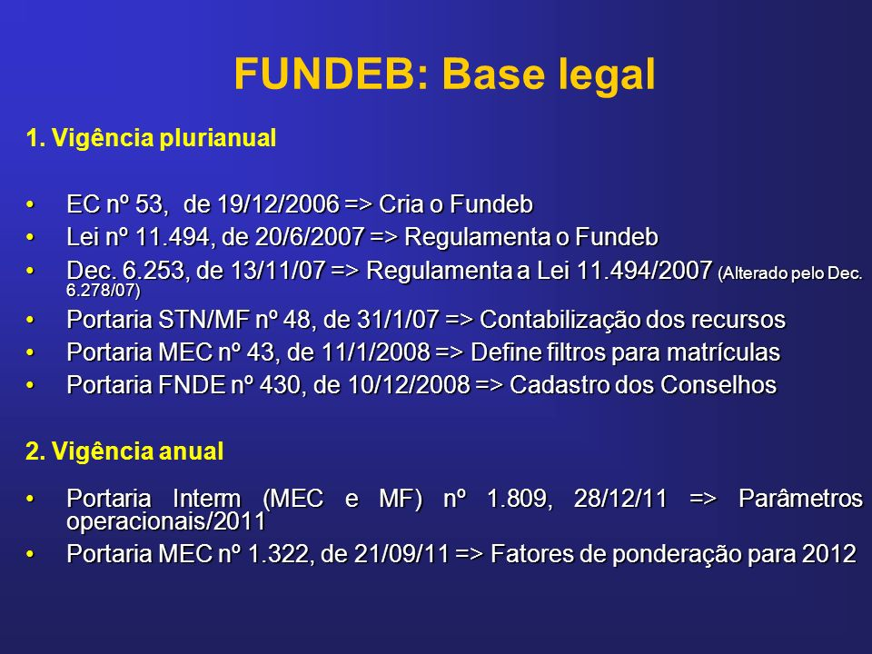FUNDEB: Base legal 1. Vigência plurianual EC nº 53, de 19/12/2006 => Cria o FundebEC nº 53, de 19/12/2006 => Cria o Fundeb Lei nº 11.494, de 20/6/2007