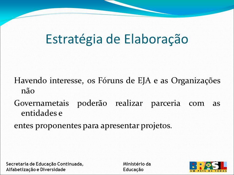 Estratégia de Elaboração Havendo interesse, os Fóruns de EJA e as Organizações não Governametais poderão realizar parceria com as entidades e entes proponentes para apresentar projetos.