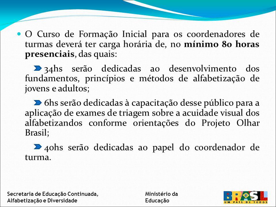 O Curso de Formação Continuada para os coordenadores de turmas deverá ter carga horária de, no mínimo 48 horas presenciais – com carga horária não superior a 8 horas -, distribuída em pelo menos duas etapas não concomitantes, dedicadas ao planejamento do trabalho pedagógico de alfabetização e a coordenação das turmas do Programa Brasil Alfabetizado.
