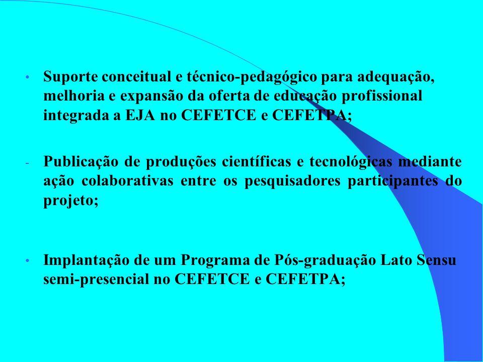 Suporte conceitual e técnico-pedagógico para adequação, melhoria e expansão da oferta de educação profissional integrada a EJA no CEFETCE e CEFETPA; -
