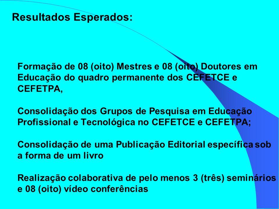 Resultados Esperados: Formação de 08 (oito) Mestres e 08 (oito) Doutores em Educação do quadro permanente dos CEFETCE e CEFETPA, Consolidação dos Grup