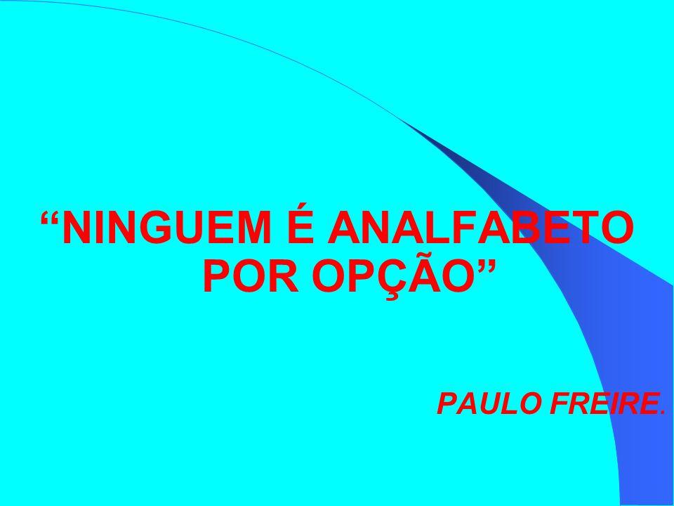 NINGUEM É ANALFABETO POR OPÇÃO PAULO FREIRE.