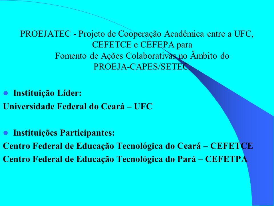 PROEJATEC - Projeto de Cooperação Acadêmica entre a UFC, CEFETCE e CEFEPA para Fomento de Ações Colaborativas no Âmbito do PROEJA-CAPES/SETEC. Institu