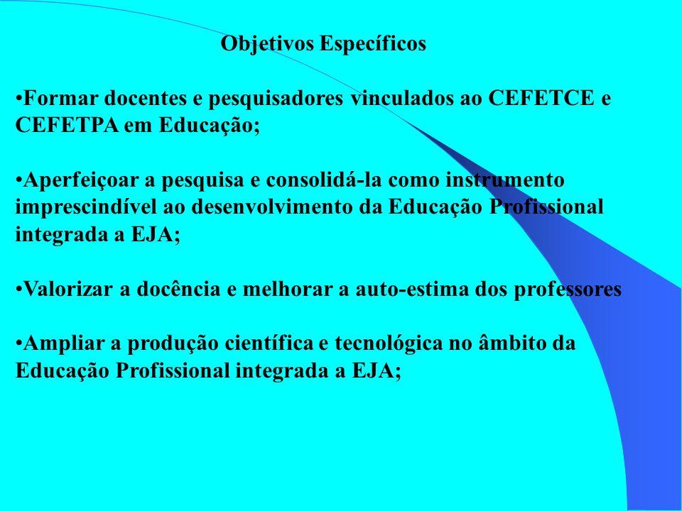 Objetivos Específicos Formar docentes e pesquisadores vinculados ao CEFETCE e CEFETPA em Educação; Aperfeiçoar a pesquisa e consolidá-la como instrume