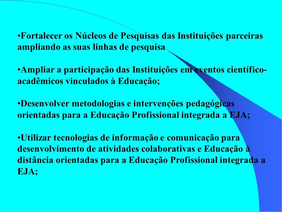 Fortalecer os Núcleos de Pesquisas das Instituições parceiras ampliando as suas linhas de pesquisa Ampliar a participação das Instituições em eventos