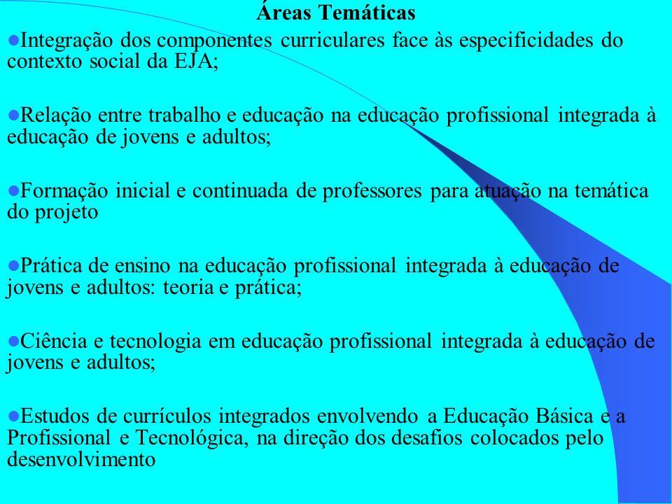 Áreas Temáticas Integração dos componentes curriculares face às especificidades do contexto social da EJA; Relação entre trabalho e educação na educaç