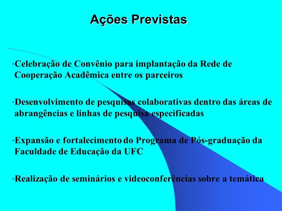Ações Previstas Celebração de Convênio para implantação da Rede de Cooperação Acadêmica entre os parceiros Desenvolvimento de pesquisas colaborativas
