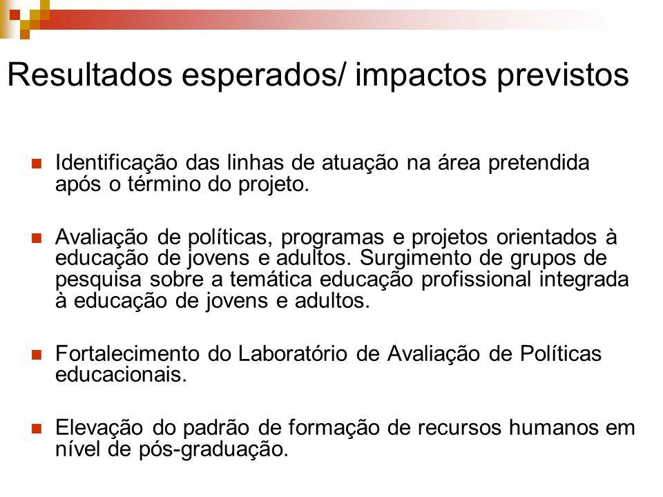 Resultados esperados/ impactos previstos Identificação das linhas de atuação na área pretendida após o término do projeto. Avaliação de políticas, pro