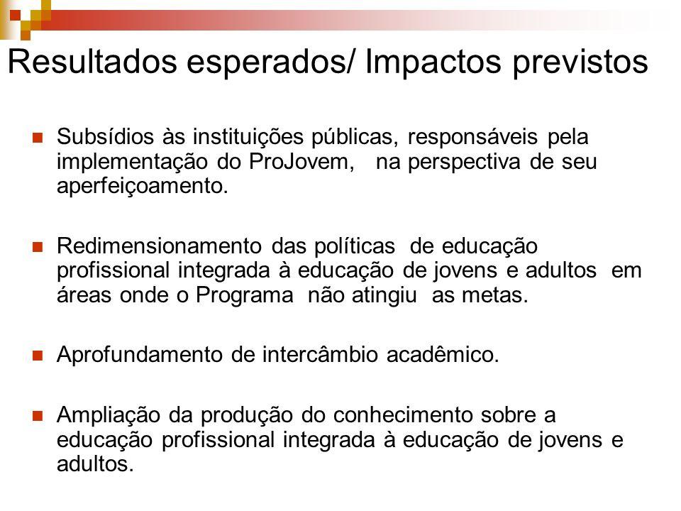 Resultados esperados/ Impactos previstos Subsídios às instituições públicas, responsáveis pela implementação do ProJovem, na perspectiva de seu aperfe