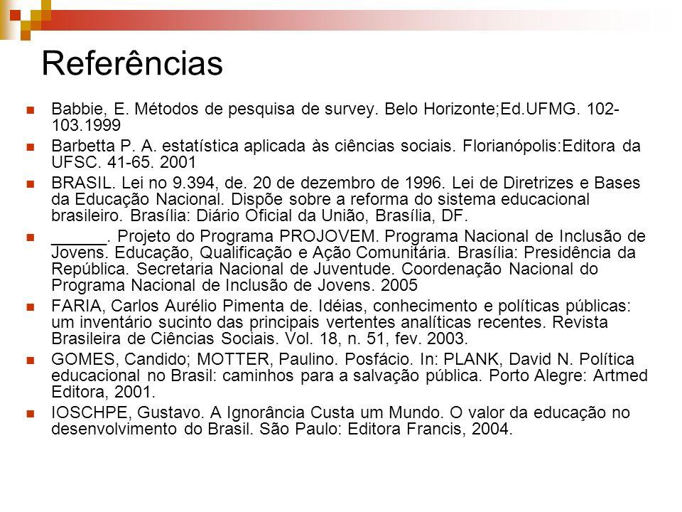 Referências Babbie, E. Métodos de pesquisa de survey. Belo Horizonte;Ed.UFMG. 102- 103.1999 Barbetta P. A. estatística aplicada às ciências sociais. F