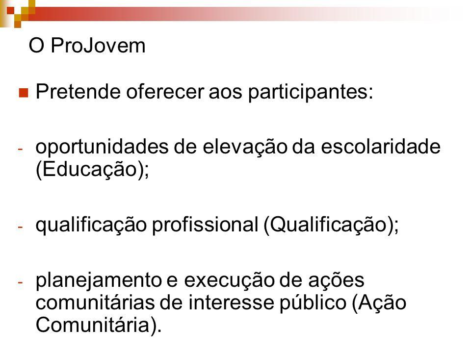 O ProJovem Pretende oferecer aos participantes: - oportunidades de elevação da escolaridade (Educação); - qualificação profissional (Qualificação); -