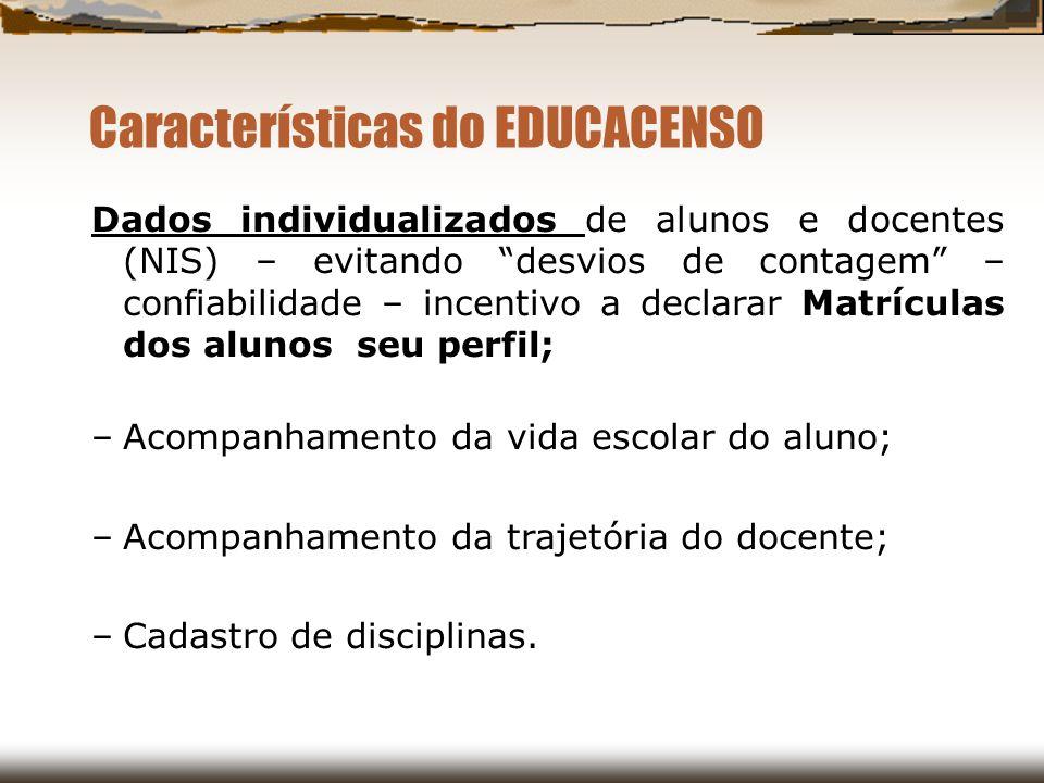 Características do EDUCACENSO Dados individualizados de alunos e docentes (NIS) – evitando desvios de contagem – confiabilidade – incentivo a declarar