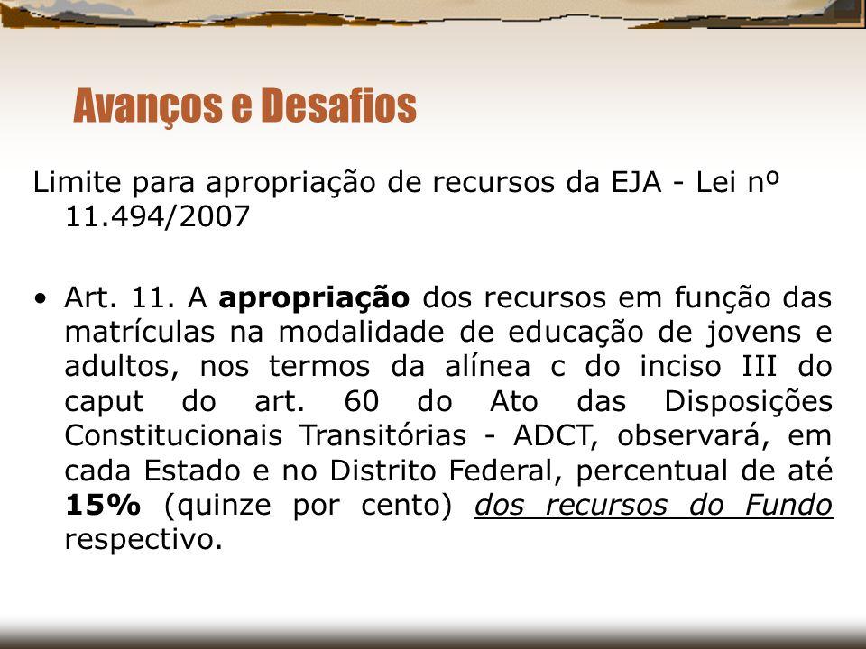 Avanços e Desafios Limite para apropriação de recursos da EJA - Lei nº 11.494/2007 Art. 11. A apropriação dos recursos em função das matrículas na mod