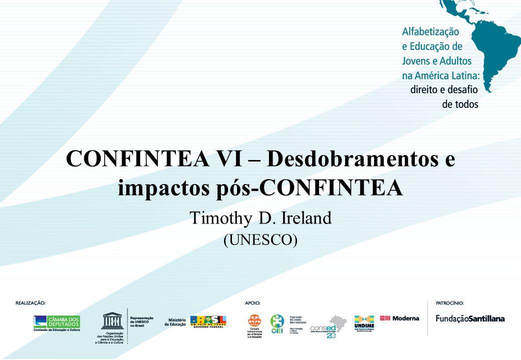 Estrutura da apresentação: 1.CONFINTEAS como processo e reflexos da época 2.Conceitos de EJA 3.Contexto da CONFINTEA VI 4.CONFINTEA como processo 5.Objetivos da Conferência 6.Desafios e temáticas centrais de Belém 7.Desdobramentos e impactos pós-CONFINTEA