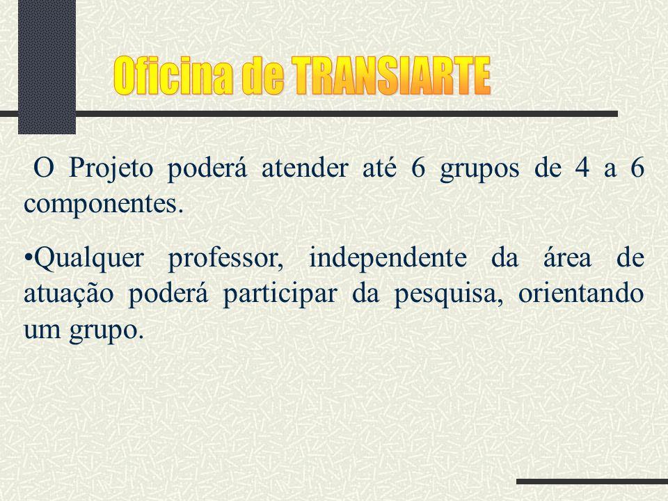 O Projeto poderá atender até 6 grupos de 4 a 6 componentes. Qualquer professor, independente da área de atuação poderá participar da pesquisa, orienta
