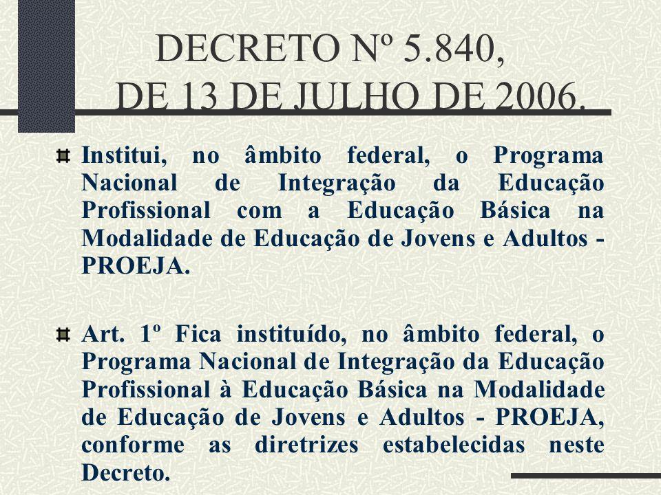 DECRETO Nº 5.840, DE 13 DE JULHO DE 2006. Institui, no âmbito federal, o Programa Nacional de Integração da Educação Profissional com a Educação Básic