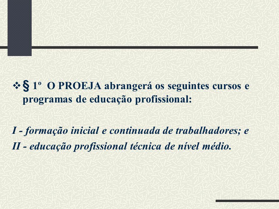 § 1º O PROEJA abrangerá os seguintes cursos e programas de educação profissional: I - formação inicial e continuada de trabalhadores; e II - educação profissional técnica de nível médio.