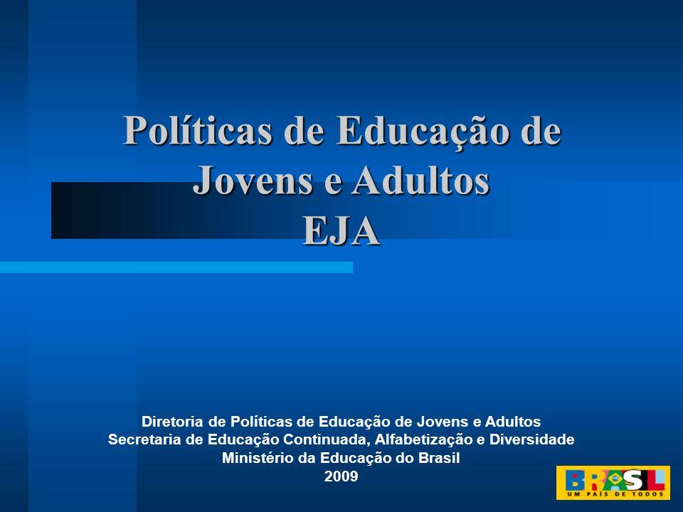 Políticas de Educação de Jovens e Adultos EJA EJA Diretoria de Políticas de Educação de Jovens e Adultos Secretaria de Educação Continuada, Alfabetiza