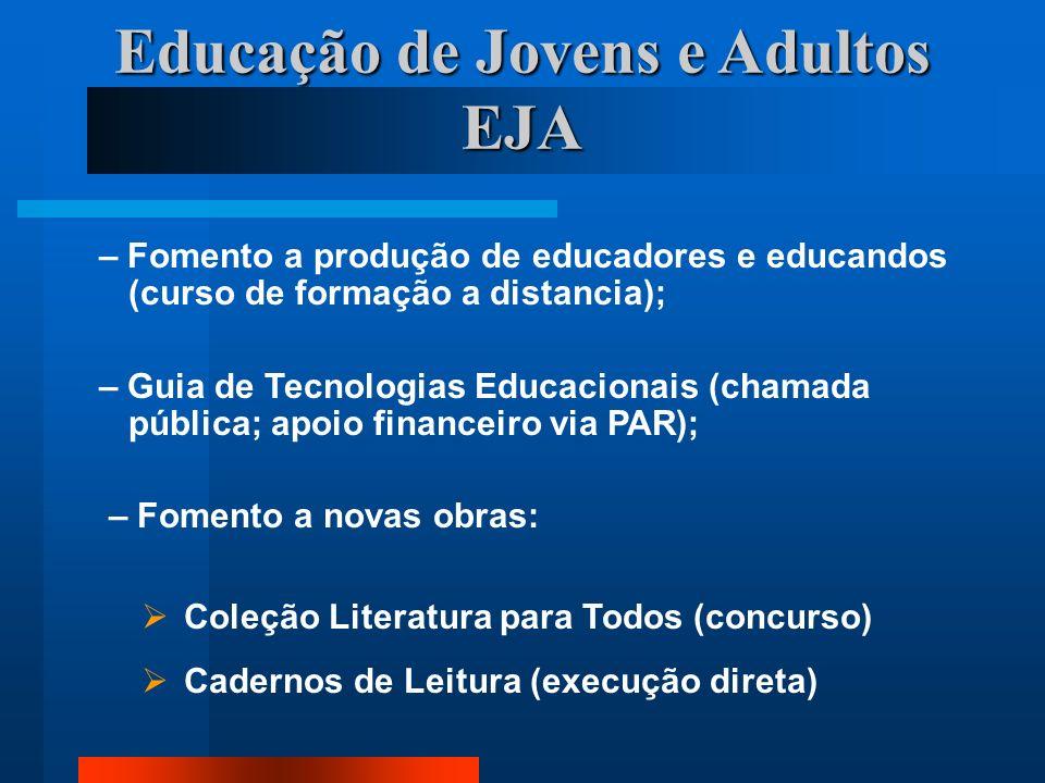 Educação de Jovens e Adultos EJA – Fomento a produção de educadores e educandos (curso de formação a distancia); – Guia de Tecnologias Educacionais (c